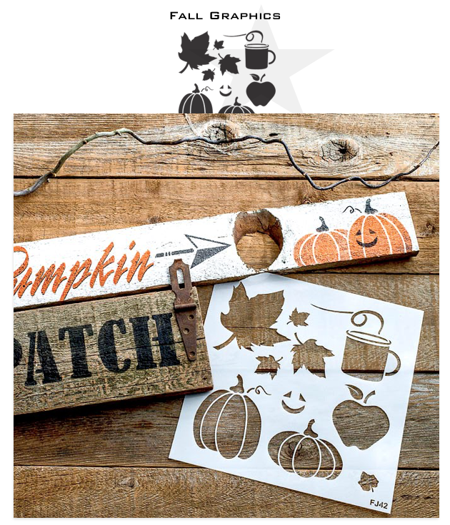 Fall Graphics stencils by Funky Junk's Old Sign Stencils is the perfect stencil to bring your fall or Halloween stenciled signs to life! Team up these stencils with our fall signs that match - Corn Maze, Hay Rides, Pumpkin Patch and Apple Cider. Add our Arrow Kit to complete the reproduction sign look!