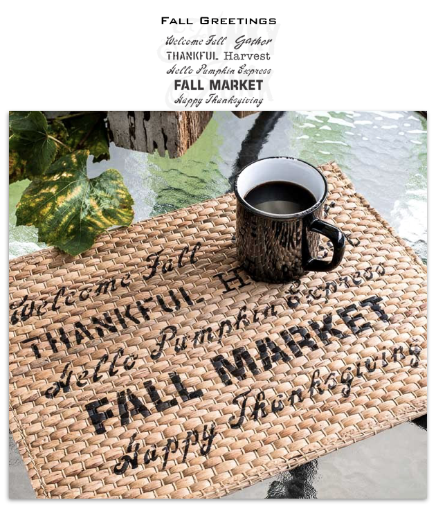 Fall Greetings by Funky Junk's Old Sign Stencils offers the perfect fall sayings all on one stencil! Designed with a fun mix of fonts, this stencil is perfect for enhancing any fall project. Includes: Welcome Fall, Gather, Thankful, Harvest, Hello Pumpkin, Pumpkin Express, Fall Market, Happy Thanksgiving. 2 sizes.