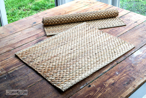 Stencil these plain rattan placemats from Ikea