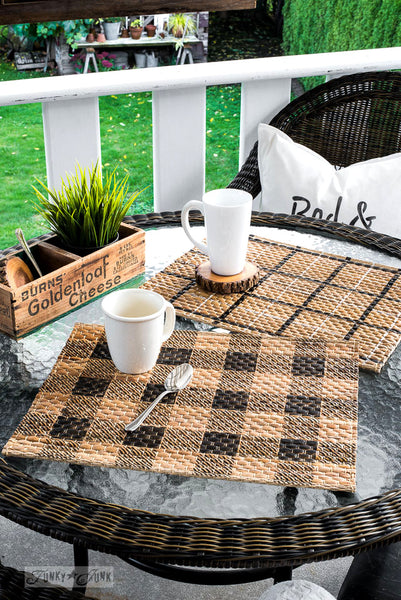 Buffalo Check and Plaid Shirt stenciled placemats | Funky Junk's Old Sign Stencils