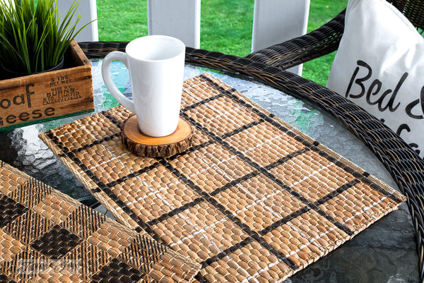 Plaid Shirt stenciled placemats | Funky Junk's Old Sign Stencils