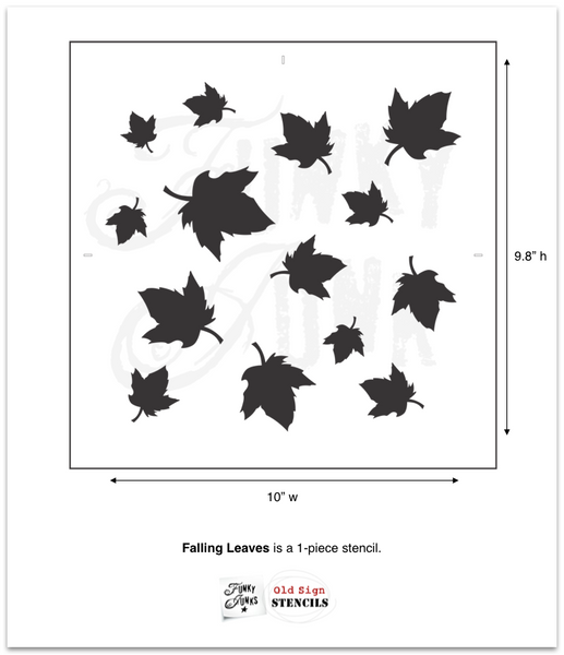 Falling Leaves by Funky Junk's Old Sign Stencils. This random fall leaves pattern stencil is styled after swirling wind blown leaves, instantly putting you in the mood to light the fire, get cozy under a blanket and serve-up the apple cider! Use as a pattern or individually. Perfect for pillow covers, trays, placemats, etc.