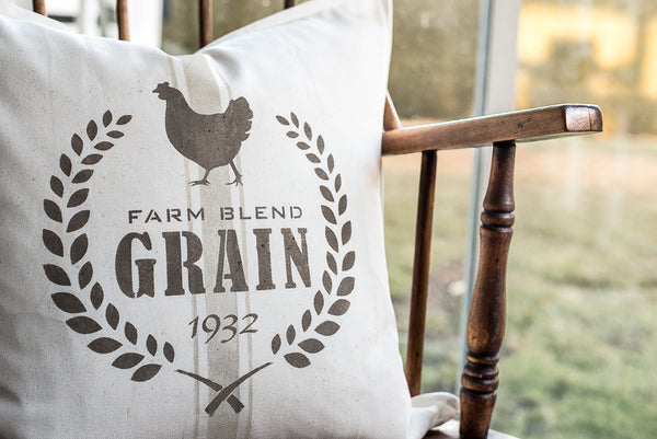 Farm Blend Grain 1932 is a vintage-styled grain sack stencil design making it easy to stencil grain sack designs onto pillows or projects. Comes with a chicken graphic, crossed wheat and timeless fonts. By Funky Junk's Old Sign Stencils.