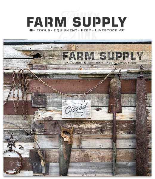 Farm Supply stencil by Funky Junk's Old Sign Stencils celebrates all the special ingredients required to live the farm lifestyle dream! Bold and timeless, with subtext of Tools, Equipment, Feed and Livestock, trimmed out with graphics of a shovel head and a sprig of wheat for added charm on your reclaimed wood sign.