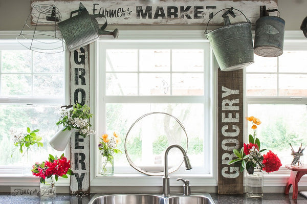 Make reclaimed wood farmhouse GROCERY and other food signs with Funky Junk's Old Sign Stencils