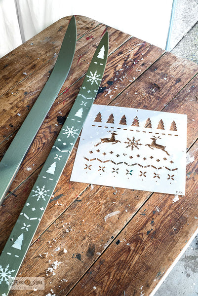 Create Christmas Sweater styled skis with Funky Junk's Old Sign Stencils!