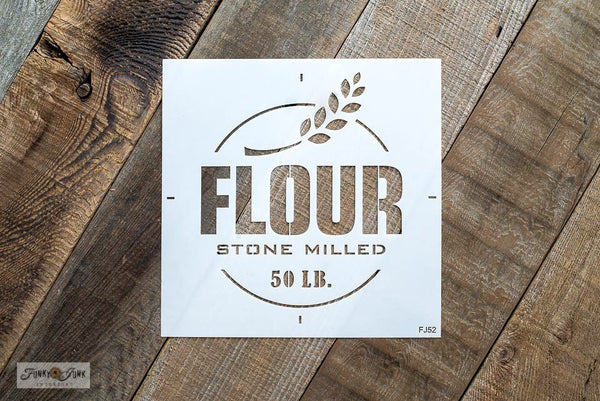 Flour Stone Milled 50 LB is a vintage-styled grain sack stencil. Team it up with Grain Sack Stripes for the complete authentic look! Complete with a sprig of wheat. By Funky Junk's Old Sign Stencils.