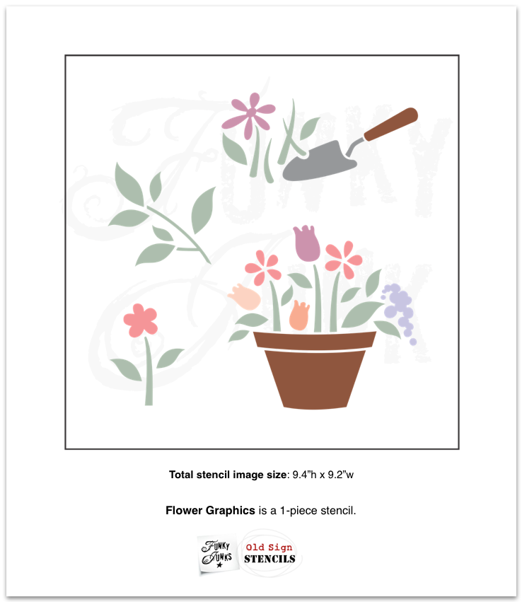Flower Graphics stencil by Funky Junk's Old Sign Stencils is a flower garden-styled stencil of flower graphics, to help enhance your garden sign projects with pretty flower visuals! Images include overflowing flowers in a terracotta pot, garden shovel digging up plants, grass, leafy branch and a stemmed flower.