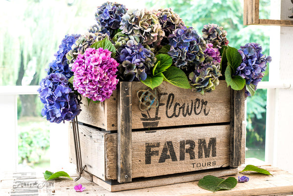 Flower Farm Tours on a DIY rustic crate, created with a variation of Funky Junk's Old Sign Stencils