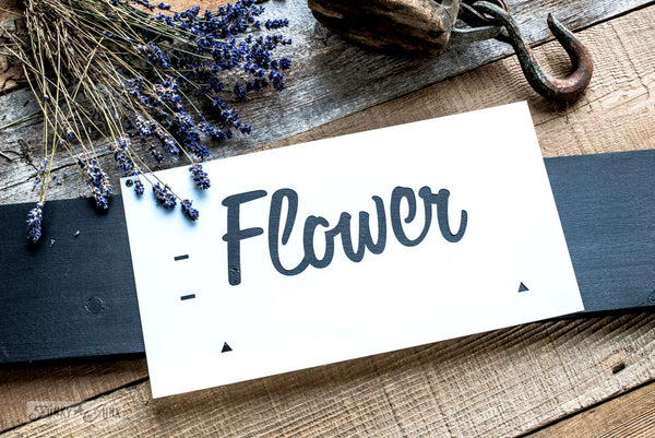 Flower, part of Market Extensions by Funky Junk's Old Sign Stencils. Paint professional looking vintage farmhouse styled market signs with Vintage, Super, Flower and Flea.