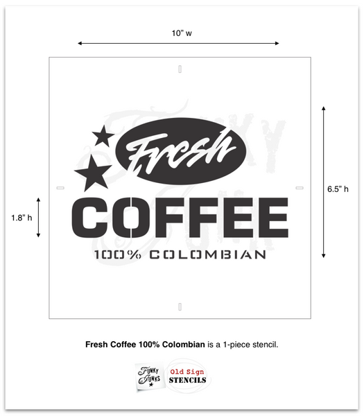 The Fresh Coffee stencil by Funky Junk's Old Sign Stencils celebrates our favorite beverage! Styled as a logo, this coffee design looks fabulous stenciled as a crate stamp, sign, on pillow covers and fits perfectly on most smaller scaled projects. It's designed to work with our Grain Sack Stripes to create an authentic coffee sack look!
