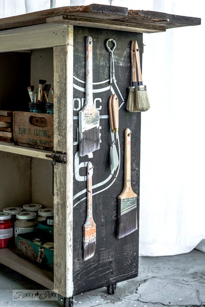 Historic Route 66 stenciled storage cupboard, with Funky Junk's Old Sign Stencils. Paint professional looking road / auto signs onto reclaimed wood in minutes with this popular stencil! Comes in two sizes, styled with official emblem look.