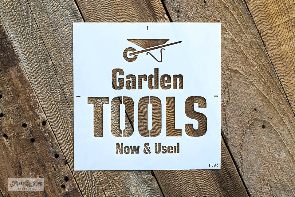 Garden Tools stencil by Funky Junk's Old Sign Stencils helps to create a handy and decorative garden sign to label up your collection of garden tools! Designed in bold text with New & Used subtext, and a whimsical wheelbarrow graphic for that perfect garden tool touch.
