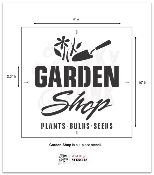 Garden Shop stencil by Funky Junk's Old Sign Stencils celebrates all things garden, crate or grain sack style! Big, bold timeless letters with a decorative garden trowel and flowers to capture the entire garden loving story. This stencil is compact for smaller garden projects.