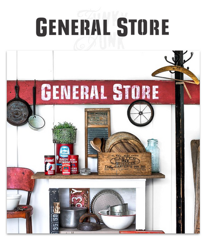 General Store by Funky Junk's Old Sign Stencils is a bold, timeless stencil that helps you design your own version of an antique store sign. Inspired by the thrill of the hunt in a store that has a little bit of everything, from farm supplies, sundries, gardening supplies, antiques and of course the best candy in town!
