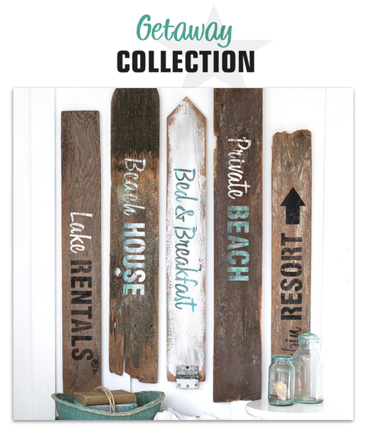 Getaway Collection are summer themed stencils. Lake Rentals, Beach House, Bed & Breakfast, Private Beach and Cabin Resort. By Funky Junk's Old Sign Stencils.
