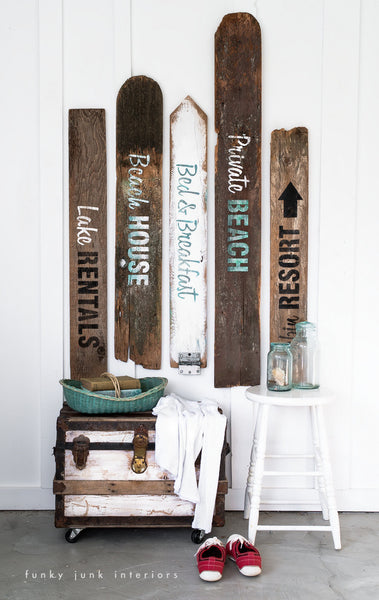 Create your own rustic summer themed signs with the Getaway Collection stencils.  Lake Rentals, Beach House, Bed & Breakfast, Private Beach and Cabin Resort. By Funky Junk's Old Sign Stencils.