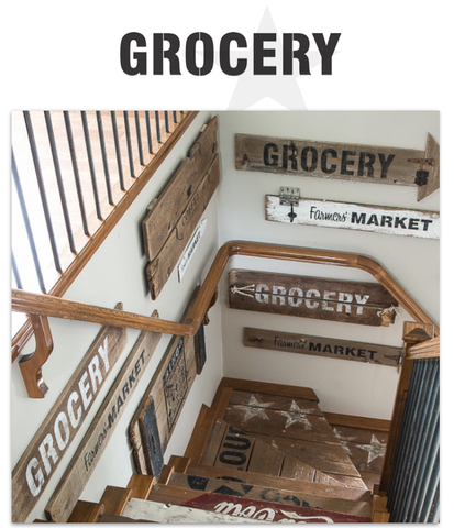 Make reclaimed wood farmhouse GROCERY signs with Funky Junk's Old Sign Stencils