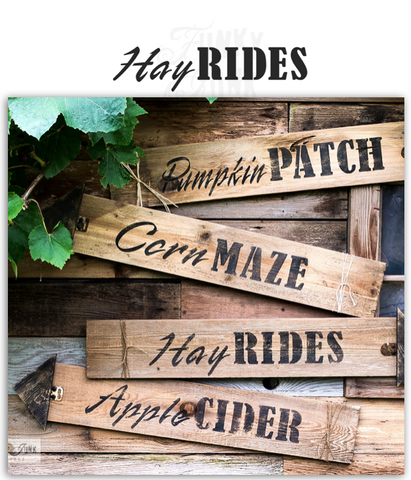 Hay Rides fall stencil by Funky Junk's Old Sign Stencils is the perfect stencil for fall or Halloween decorating! Create a sign on reclaimed wood, use it on furniture, or anywhere desired! Collect all our fall signs that match - Corn Maze, Hay Rides and Apple Cider.