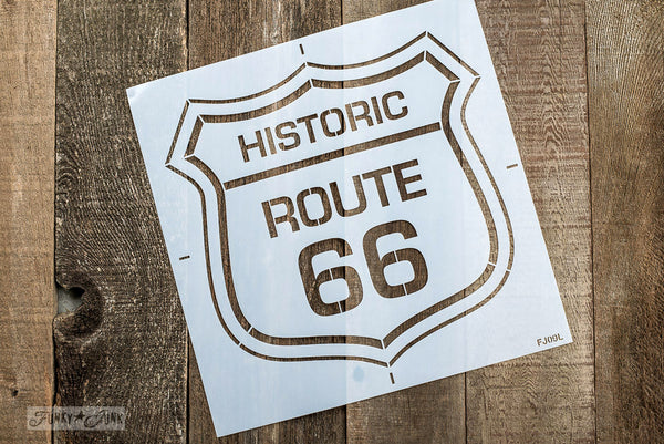 Historic Route 66 stencil by Funky Junk's Old Sign Stencils. Paint professional looking road / auto signs onto reclaimed wood in minutes with this popular stencil! Comes in two sizes, styled with official emblem look.