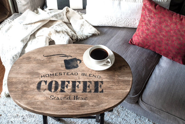 A coffee themed TV tray stencilled with Homestead Blend Coffee Served Here. By Funky Junk's Old Sign Stencils