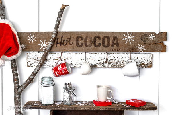 Winter Graphics added to a Hot Cocoa sign made with Funky Junk's Old Sign Stencils. Paint professional looking winter themed designs consisting of 3 sizes of snowflakes, hot cocoa, 2 arrows, and 25 cents this stencil! All designs on one sheet.