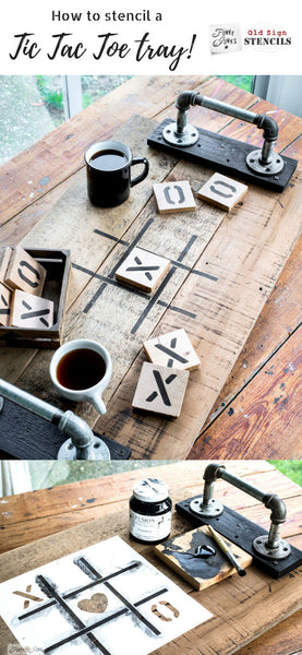 Learn how to stencil this easy and interactive Tic Tac Toe tray with scrap wood and the Tic Tac Toe stencils from Funky Junk's Old Sign Stencils! #oldsignstencils #tictactoe #stencils #funkyjunkinteriors