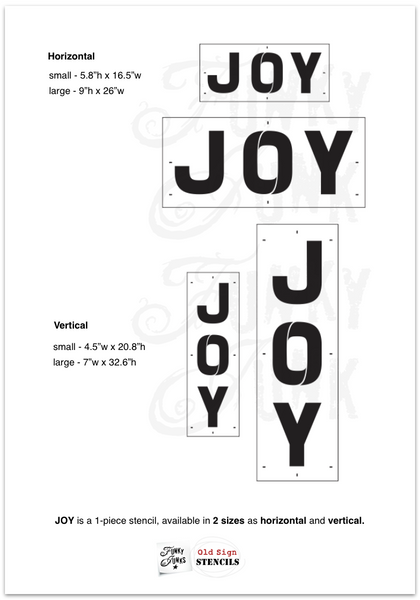 Celebrate the festive season with this big, beautiful JOY Christmas stencil! In big, bold beautiful letters with candy cane-like bridging in the O. Available in small or large, horizontal or vertical. Designed to work with festive Joy Ornaments (sold separately) to replace the O!