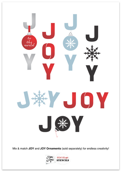 Joy Ornaments is a festive Christmas stencil kit that is designed to replace the O in our JOY stencil! (sold separately). Makes a wonderful Christmas decoration on its own, or team it up with JOY for endless whimsical designs! Options include: an ornament, hook, ribbon, 'to the world', small snowflake and large snowflake.