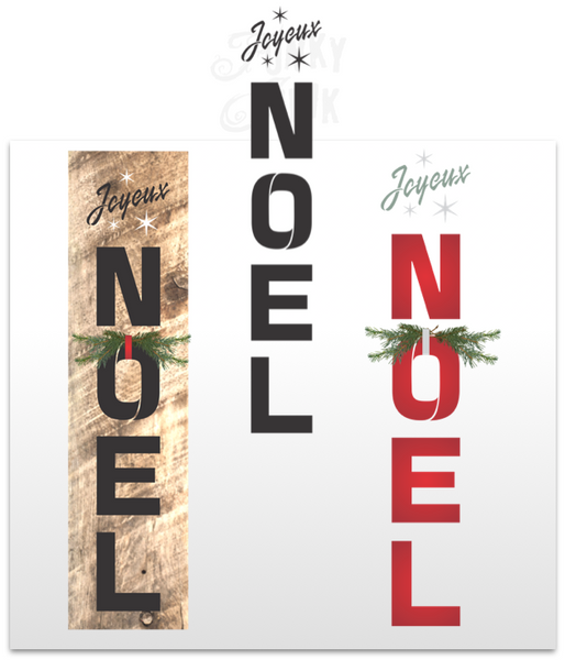 Joyeux Noel is a vertical winter / Christmas themed stencil that celebrates the festive season! Designed with bold letters and sparkling stars. Makes the perfect Christmas decorating sign for a festive front porch or as wall decor.