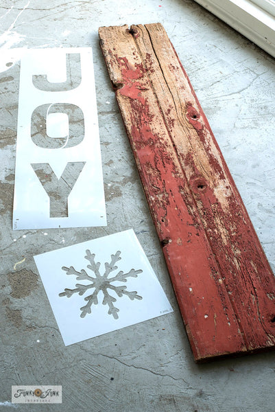 Joy - Large by Funky Junk's Old Sign Stencils is a larger scaled festive Christmas sign stencil bursting with creative mix & match options! Joy is offered in horizontal and vertical formats, with optional accessories that replace the O in Joy! Accessories include a Large Ornament, Large Snowflake, and Large Ornament Accessories.