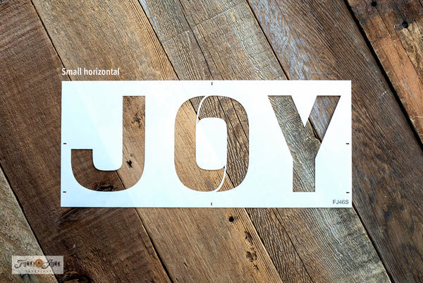 Joy - Small is a festive Christmas sign stencil design bursting with loads of creative mix & match options! Use Joy by itself in horizontal or vertical formats, with the option to replace the O in Joy with Accessories, that include 2 snowflakes, ornament, hook, ribbon, and to the world text.