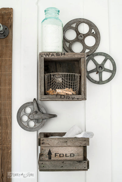 Mini crate laundry shelves, part of Laundry by Funky Junk's Old Sign Stencils. Paint professional looking vintage farmhouse styled signs onto reclaimed wood or furniture with this stencil!