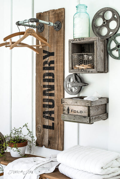 Laundry by Funky Junk's Old Sign Stencils. Paint professional looking vintage farmhouse styled signs onto reclaimed wood or furniture with this stencil!