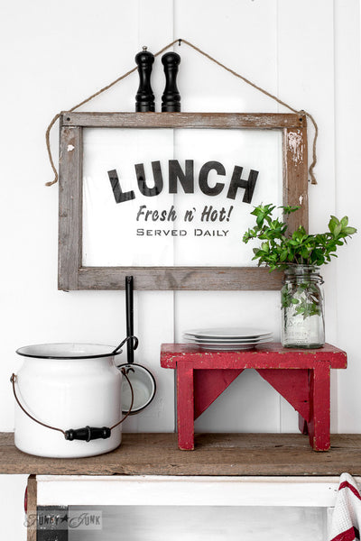 Make this old window Lunch Fresh 'n Hot sign with Funky Junk's Old Sign Stencils