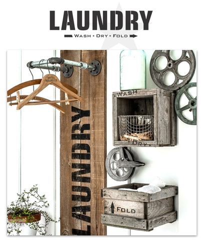 The Laundry Wash Dry Fold stencil by Funky Junk's Old Sign Stencils  is a bold, clean and timeless stencil design, conjuring up memories of the old laundromats from the past. Perfect for creating a Laundry room sign with vintage charm! Comes with a small directional arrow graphic.