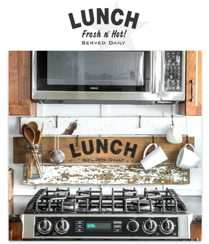 Lunch by Funky Junk's Old Sign Stencils. Paint professional looking vintage farmhouse styled food signs onto reclaimed wood or furniture with this stencil!
