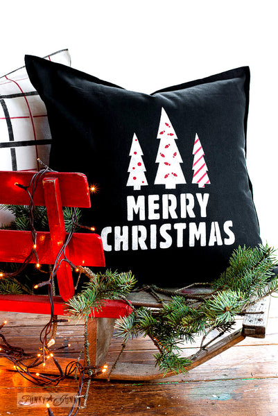 Festive coordinated pillow designs with Merry Christmas and Plaid Shirt \ stencils by Funky Junk's Old Sign Stencils