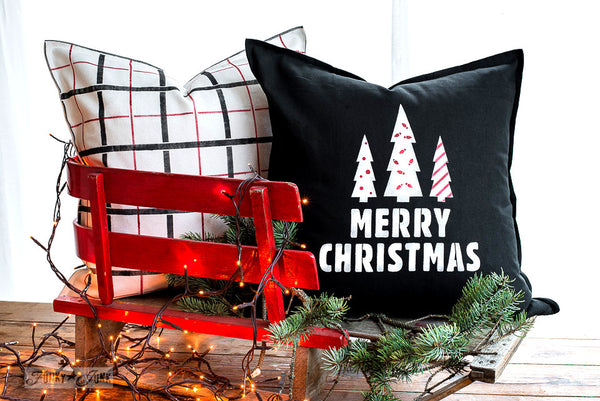 Plaid Shirt and Merry Christmas (with Mini Christmas Graphics) festive pillows in red, black and white | Funky Junk's Old Sign Stencils