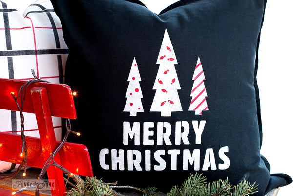 Merry Christmas and Mini Christmas Patterns on a black festive pillow in red, white and black | Funky Junk's Old Sign Stencils