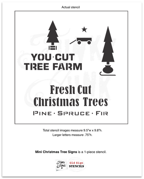 Mini Christmas Tree Signs is a versatile Christmas tree-themed stencil kit sized for smaller projects! Designed with two trees, sleigh, crate, sack, wagon, with You Cut Tree Farm, Fresh Cut Christmas Trees and Pine Spruce Fir.
