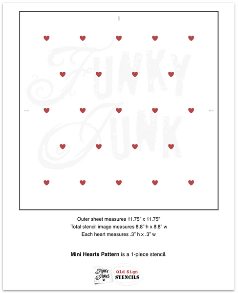 "Mini Hearts Pattern stencil by Funky Junk's Old Sign Stencils offers the perfect heart-shaped 9"" x 9"" stencil pattern for Valentine's Day projects! The small, rounded hearts resembling cinnamon heart candies are spaced to offer a subtle effect."