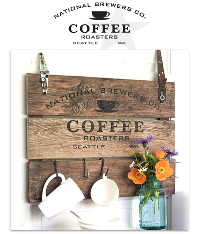 National Brewers Coffee by Funky Junk's Old Sign Stencils. Paint professional looking vintage farmhouse styled coffee signs onto reclaimed wood with a stencil!