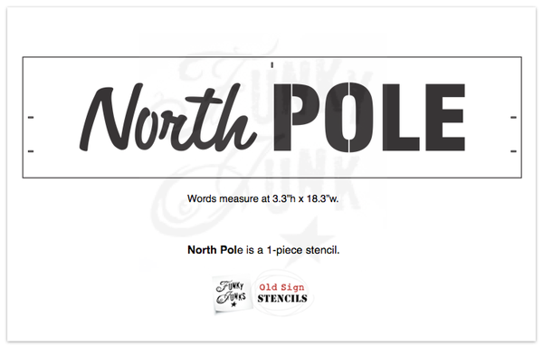North Pole is a Christmas-Winter themed sign stencil that is mixed with a hand-written script alongside bold for punch! It's perfect for the Santa lover. Scaled to work with our other Winter Directional Signs so you can create a custom whimsical directional sign with ease!