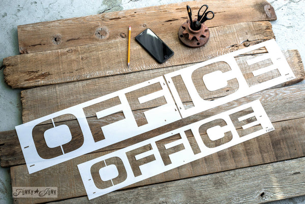 Office stencil by Funky Junk's Old Sign Stencils