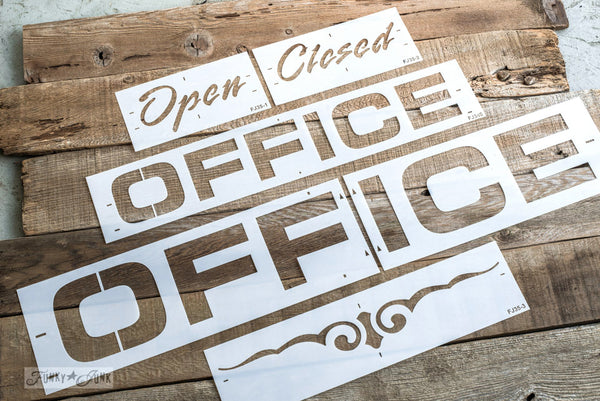 Office and Open-Closed stencils by Funky Junk's Old Sign Stencils