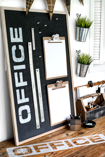 Revamping a plain cork board is easy with Office by Funky Junk's Old Sign Stencils! Paint the board, add a sign and you're ready to work!