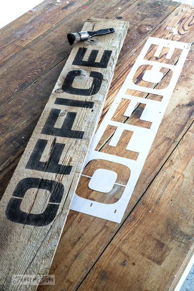 Make your own rustic farmhouse styled Office sign in minutes with Funky Junk's Old Sign Stencils!