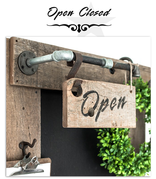 Open - Closed - Flourish stencils to create rustic farmhouse styled signs. By Funky Junk's Old Sign Stencils