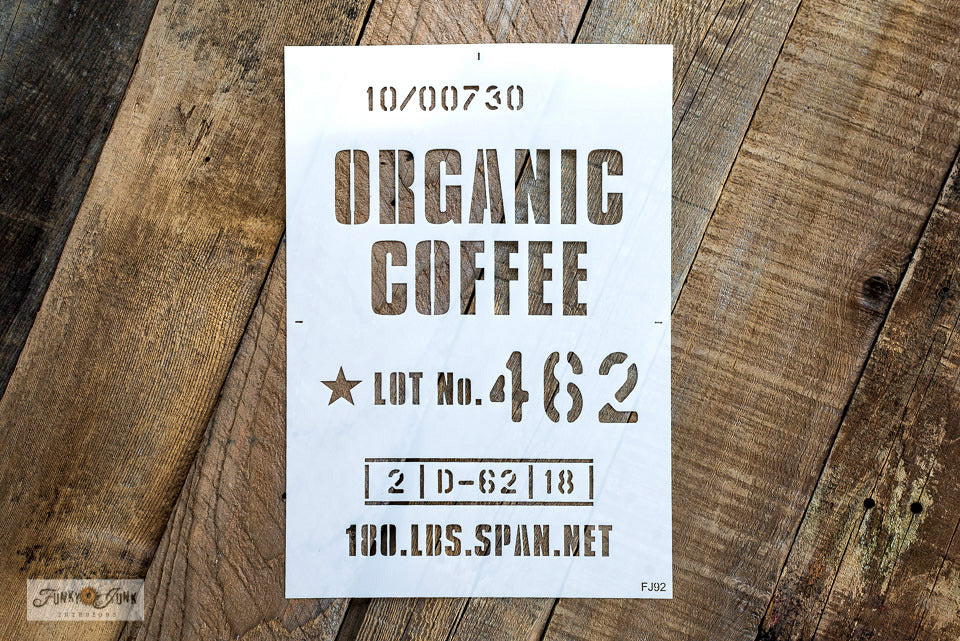 OrganicCoffeebyFunkyJunk_sOldSignStencils.56PM.png  630 × 735px  Organic Coffee stencil by Funky Junk's Old Sign Stencils is a coffee bean burlap sack stencil design, perfect for a coffee shop vibe! Team it up with any of our Grain Sack Stripe stencils (sold separately) to get a full authentic take! Stencil on burlap, reclaimed wood, furniture, or any project desired.